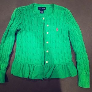 Girls Green Ruffle Bottom Cardigan